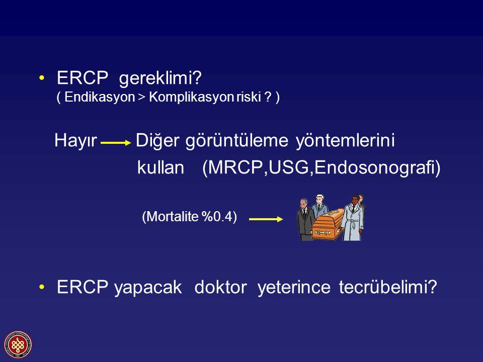 ERCP sonrası pankreatit Diagnostik ERCP %3-5 Terapötik ERCP %5-8 Yüksek riskli hasta gurubunda %20-25 Oddi sfinkteri manometrisi %20-25 Asemptomatik hiperamilazemi %35-70 Hafif-orta şiddette pankreatit (%7-10) Ağır pankreatit (%1-3) OtörnPankreatit (%) Sherman 19946907,4 Freeman 199623475,4 Loperfido 199827691,3 Masci 200124621,8 Freeman 200119636,7 Christoforidis 20025563,3 Vandervoort 200212237,2 Toplam12010 5,8 Mariani A.