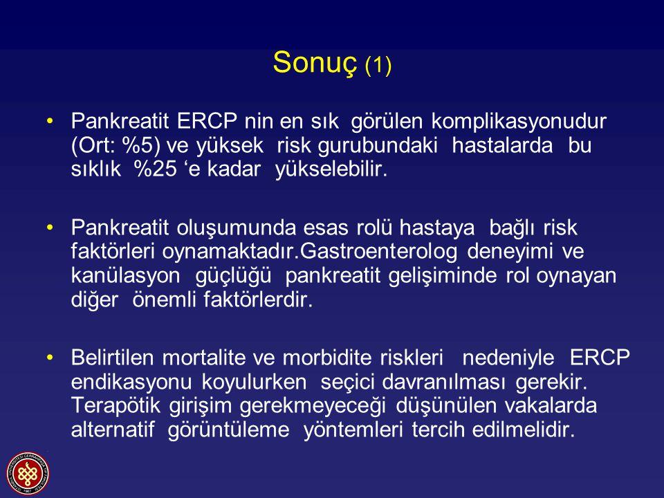 Sonuç (1) Pankreatit ERCP nin en sık görülen komplikasyonudur (Ort: %5) ve yüksek risk gurubundaki hastalarda bu sıklık %25 'e kadar yükselebilir.