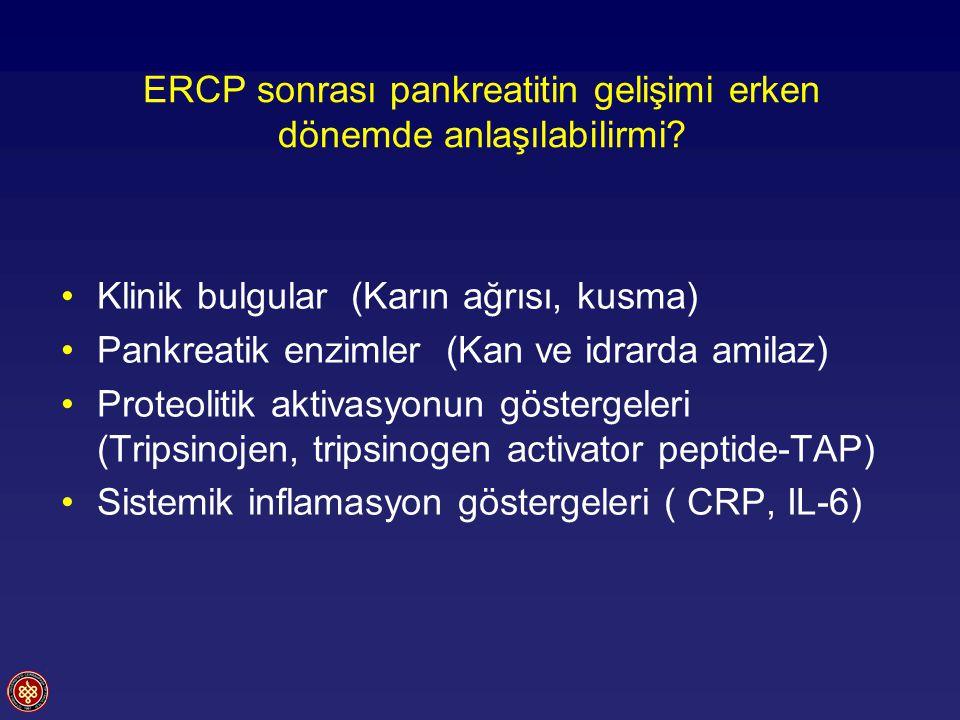 Klinik bulgularPankreatik enzimler Karın ağrısı(Serum ve idrarda amilaz) ERCP den sonra 2-12 saat içinde ortaya çıkar Serum amilaz düzeyi 2-8 saat içinde max.