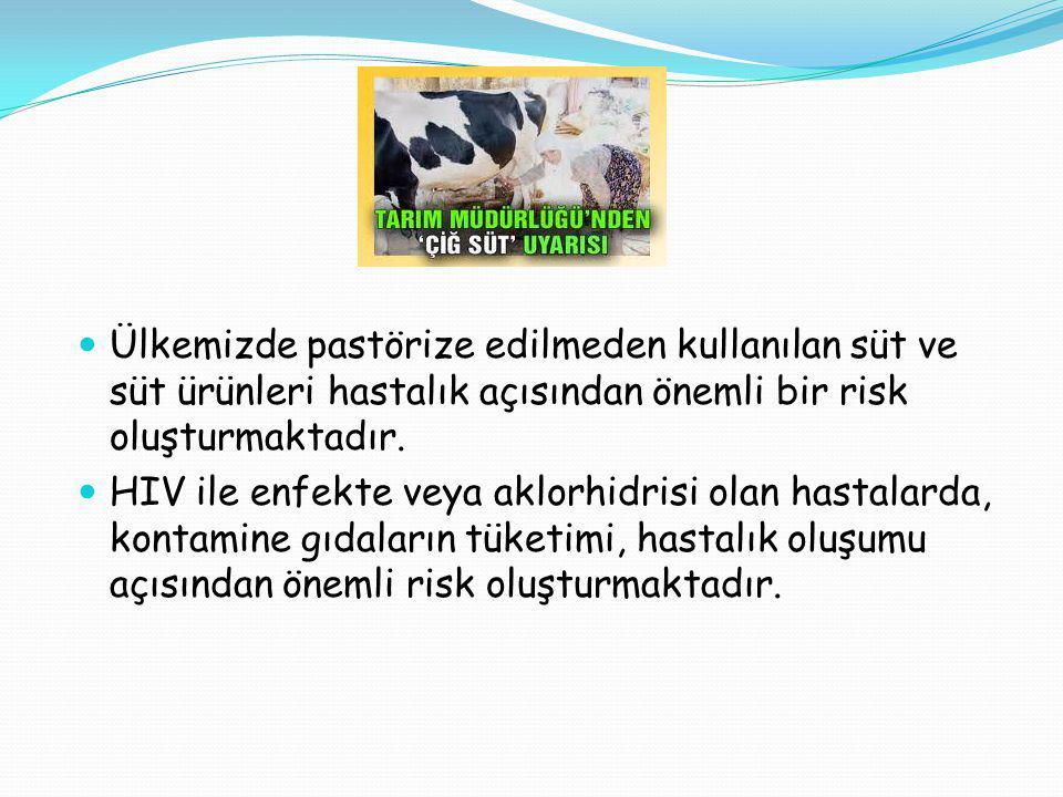 Ülkemizde pastörize edilmeden kullanılan süt ve süt ürünleri hastalık açısından önemli bir risk oluşturmaktadır. HIV ile enfekte veya aklorhidrisi ola