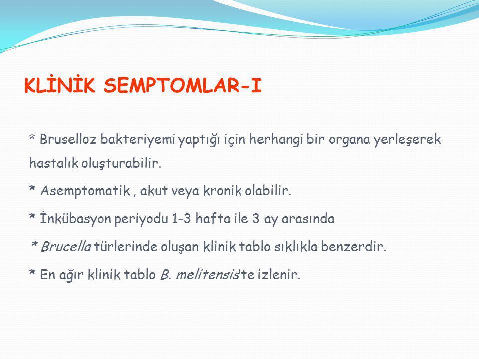 KLİNİK SEMPTOMLAR-I * Bruselloz bakteriyemi yaptığı için herhangi bir organa yerleşerek hastalık oluşturabilir. * Asemptomatik, akut veya kronik olabi