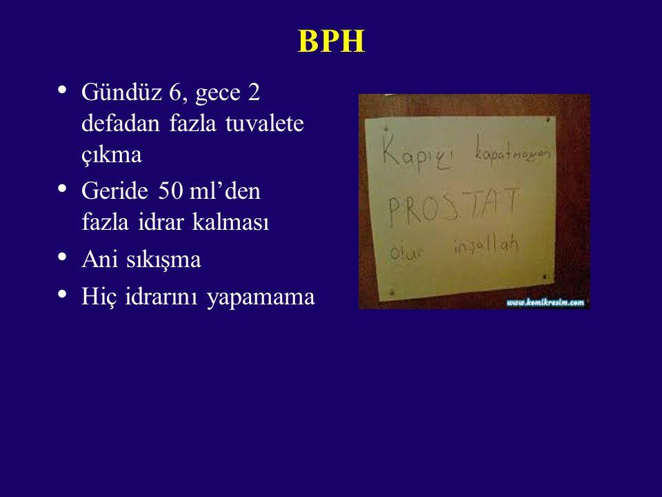 BPH Gündüz 6, gece 2 defadan fazla tuvalete çıkma Geride 50 ml'den fazla idrar kalması Ani sıkışma Hiç idrarını yapamama