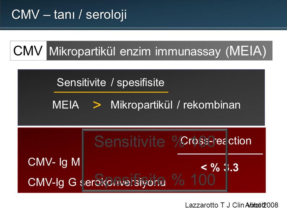 Abbott CMV- Ig M CMV-Ig G serokonversiyonu Cross-reaction < % 3.3 Sensitivite / spesifisite > Mikropartikül / rekombinanMEIA Sensitivite % 100 Spesifi