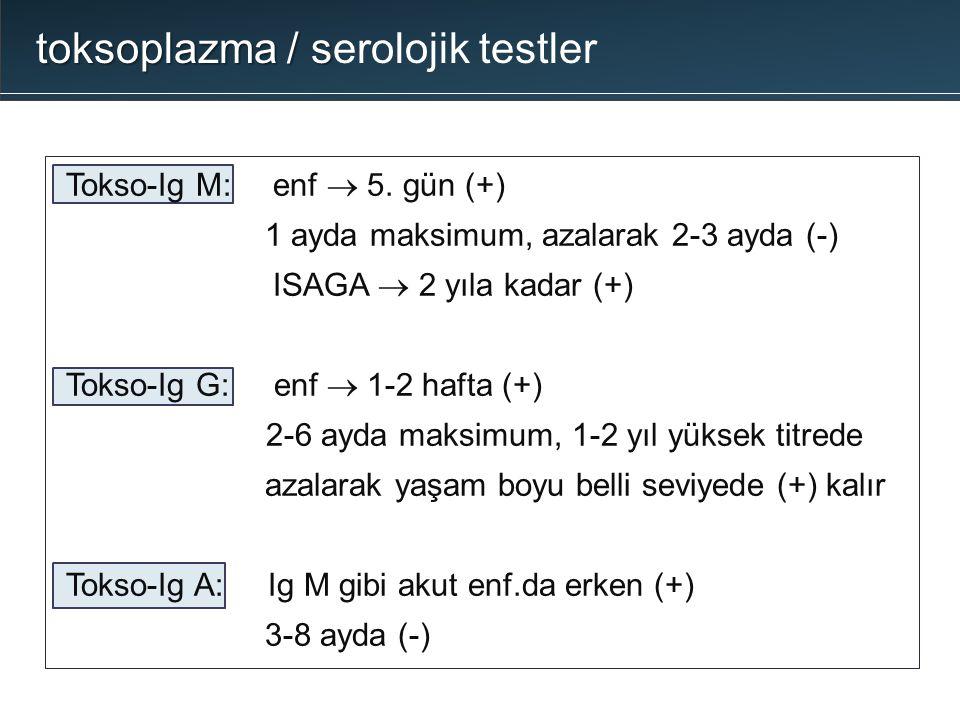 Tokso-Ig M: enf  5. gün (+) 1 ayda maksimum, azalarak 2-3 ayda (-) ISAGA  2 yıla kadar (+) Tokso-Ig G: enf  1-2 hafta (+) 2-6 ayda maksimum, 1-2 yı