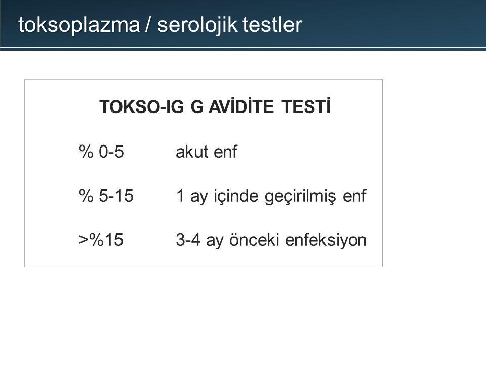 TOKSO-IG G AVİDİTE TESTİ  % 0-5akut enf  % 5-151 ay içinde geçirilmiş enf  >%153-4 ay önceki enfeksiyon toksoplazma / s toksoplazma / serolojik tes