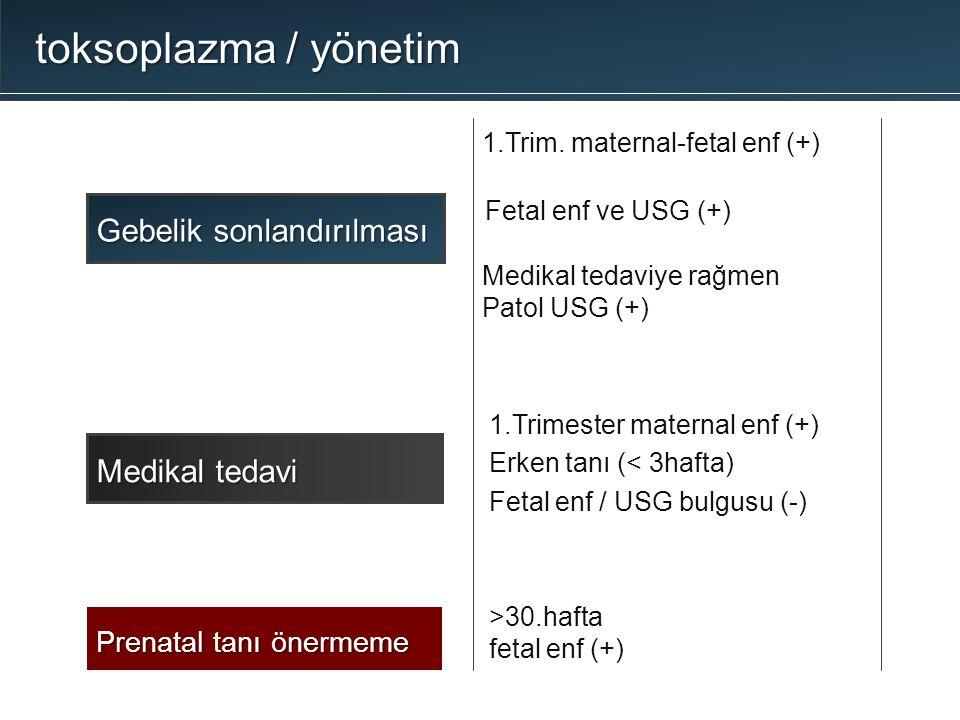 toksoplazma / yönetim Gebelik sonlandırılması 1.Trimester maternal enf (+) Erken tanı (< 3hafta) Fetal enf / USG bulgusu (-) Medikal tedavi >30.hafta