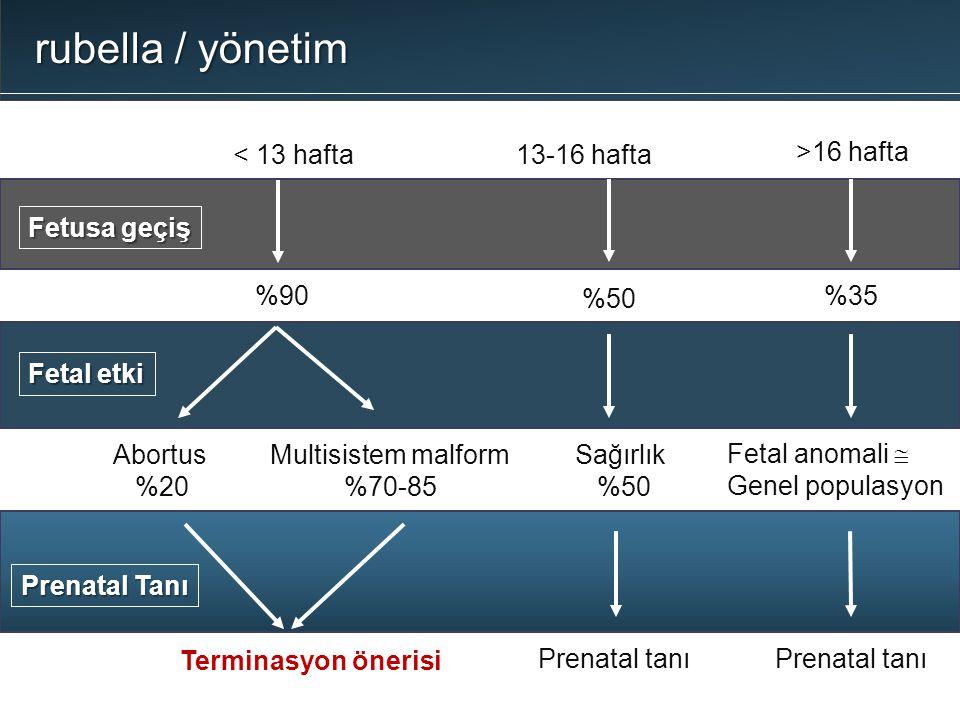 < 13 hafta Fetusa geçiş %90 13-16 hafta %50 >16 hafta %35 Abortus %20 Multisistem malform %70-85 Sağırlık %50 Fetal anomali  Genel populasyon Prenata