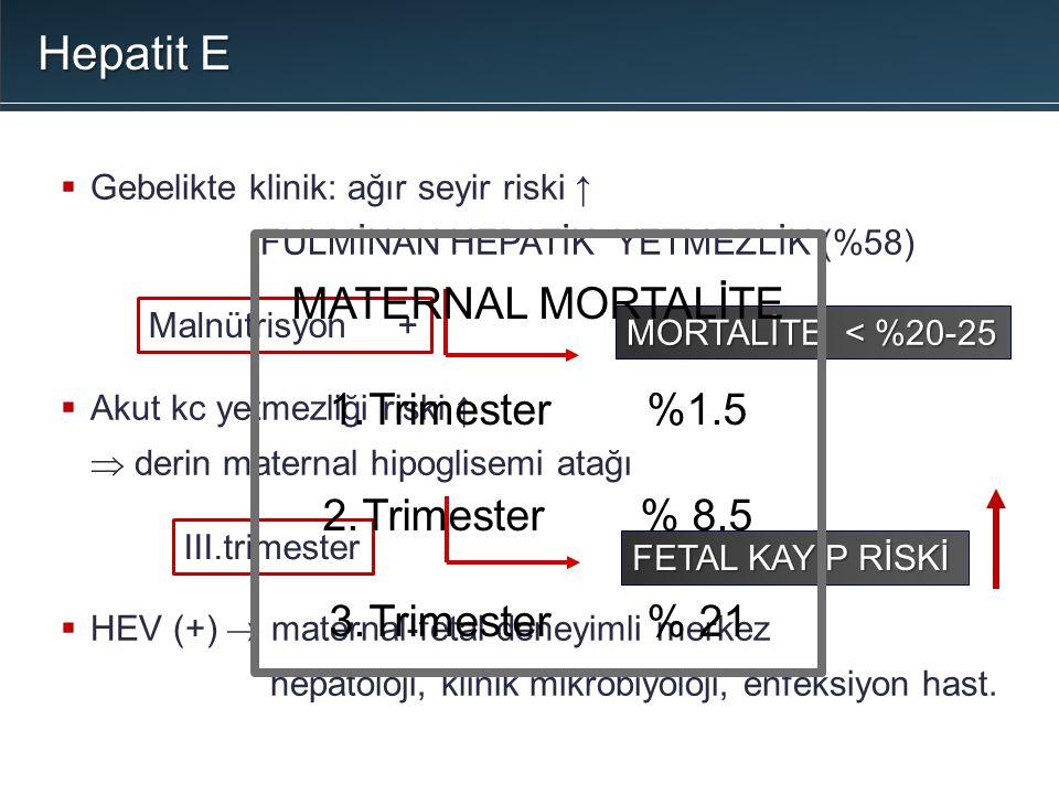  Gebelikte klinik: ağır seyir riski ↑ FULMİNAN HEPATİK YETMEZLİK (%58)  Akut kc yetmezliği riski ↑  derin maternal hipoglisemi atağı  HEV (+)  ma