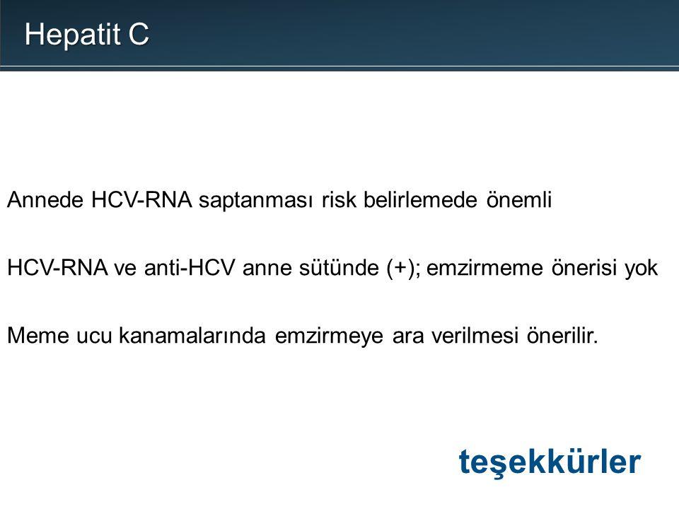 Annede HCV-RNA saptanması risk belirlemede önemli HCV-RNA ve anti-HCV anne sütünde (+); emzirmeme önerisi yok Meme ucu kanamalarında emzirmeye ara ver