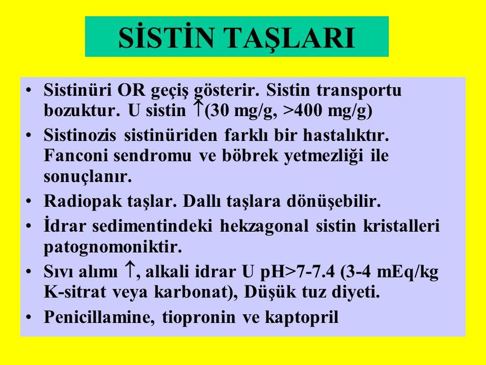 SİSTİN TAŞLARI Sistinüri OR geçiş gösterir. Sistin transportu bozuktur. U sistin  (30 mg/g, >400 mg/g) Sistinozis sistinüriden farklı bir hastalıktır