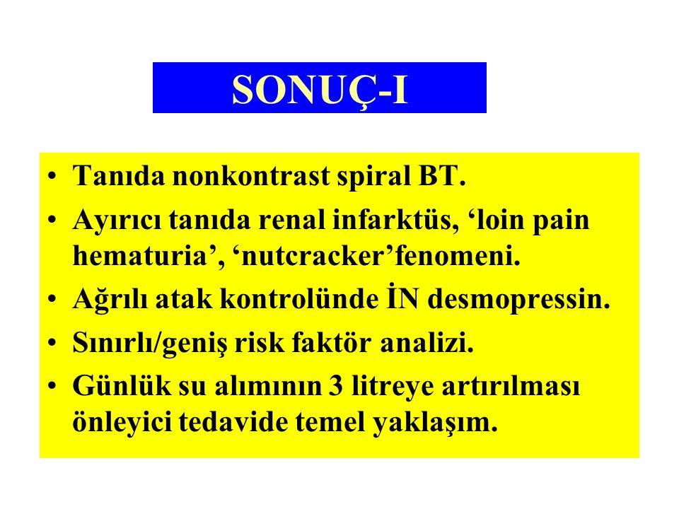 SONUÇ-I Tanıda nonkontrast spiral BT. Ayırıcı tanıda renal infarktüs, 'loin pain hematuria', 'nutcracker'fenomeni. Ağrılı atak kontrolünde İN desmopre