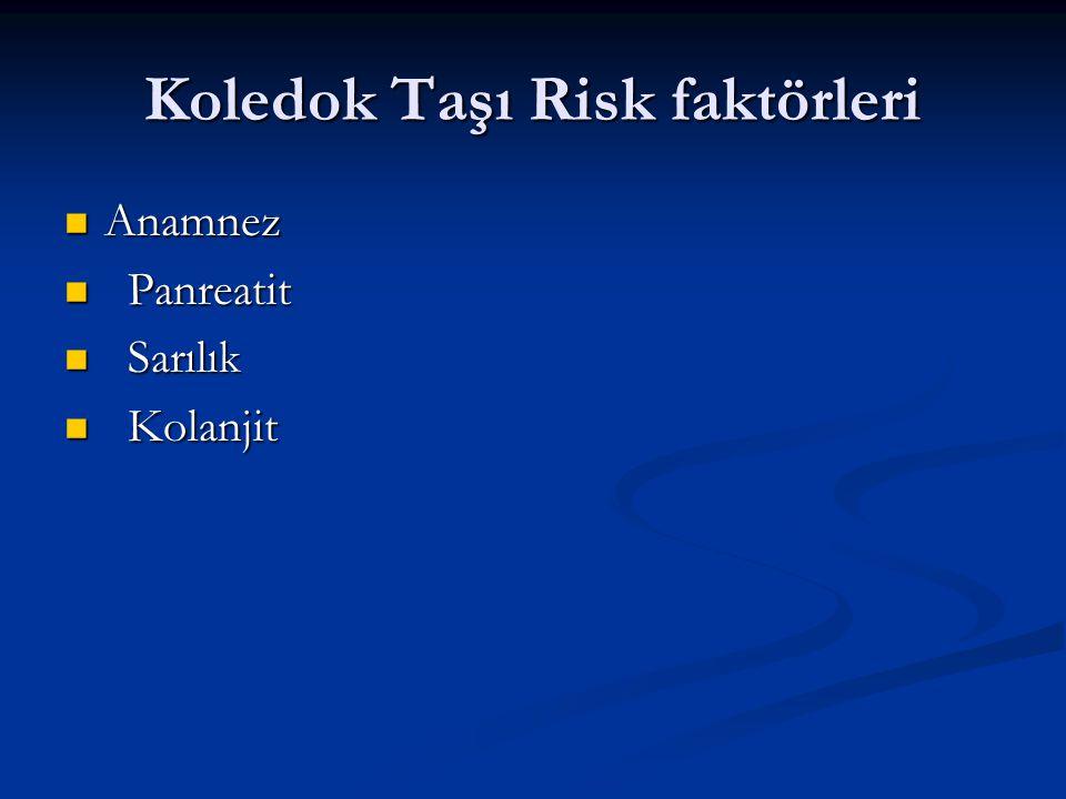 Koledok Taşı Risk faktörleri Anamnez Anamnez Panreatit Panreatit Sarılık Sarılık Kolanjit Kolanjit