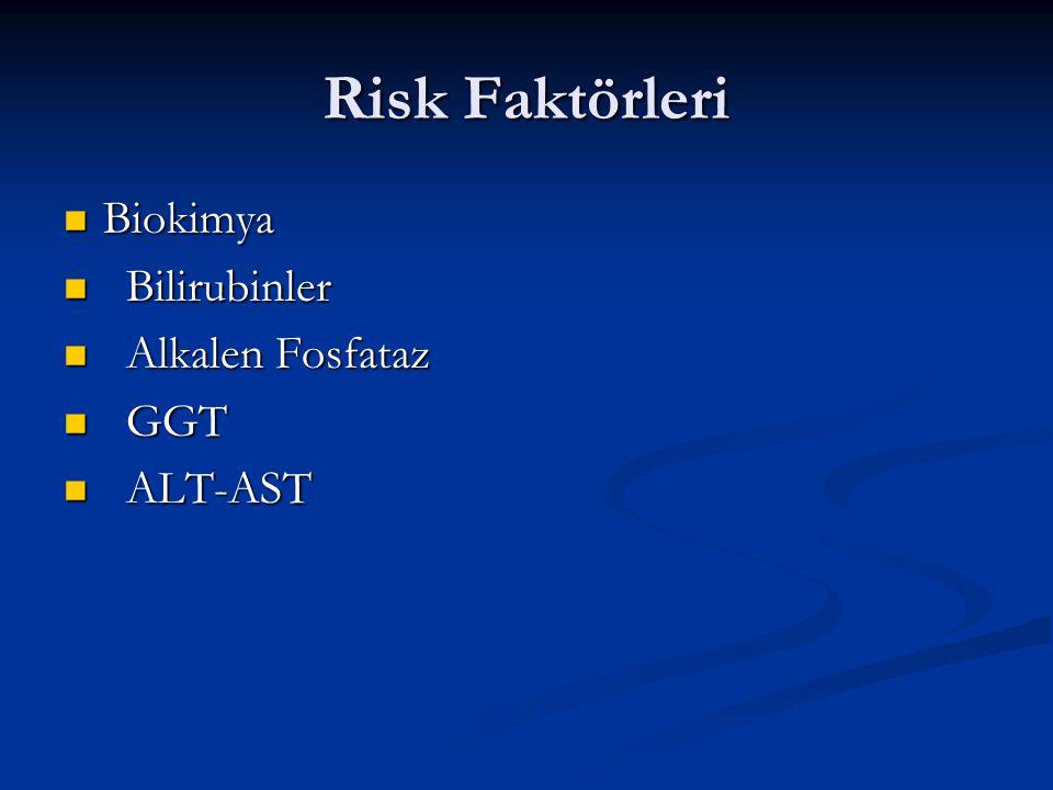 Risk Faktörleri Biokimya Biokimya Bilirubinler Bilirubinler Alkalen Fosfataz Alkalen Fosfataz GGT GGT ALT-AST ALT-AST