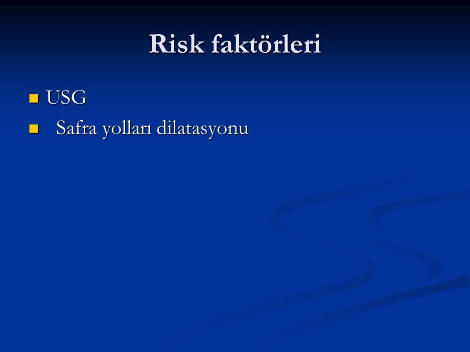 Risk faktörleri USG USG Safra yolları dilatasyonu Safra yolları dilatasyonu