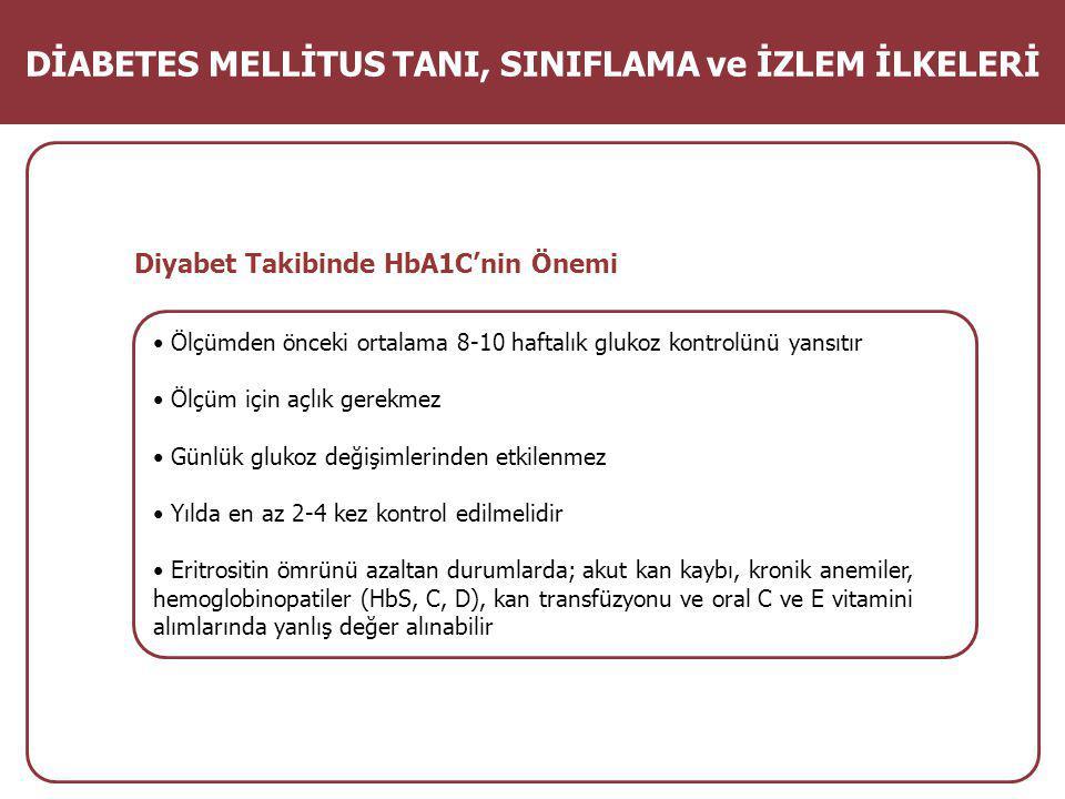 Diyabet Takibinde HbA1C'nin Önemi Ölçümden önceki ortalama 8-10 haftalık glukoz kontrolünü yansıtır Ölçüm için açlık gerekmez Günlük glukoz değişimlerinden etkilenmez Yılda en az 2-4 kez kontrol edilmelidir Eritrositin ömrünü azaltan durumlarda; akut kan kaybı, kronik anemiler, hemoglobinopatiler (HbS, C, D), kan transfüzyonu ve oral C ve E vitamini alımlarında yanlış değer alınabilir DİABETES MELLİTUS TANI, SINIFLAMA ve İZLEM İLKELERİ