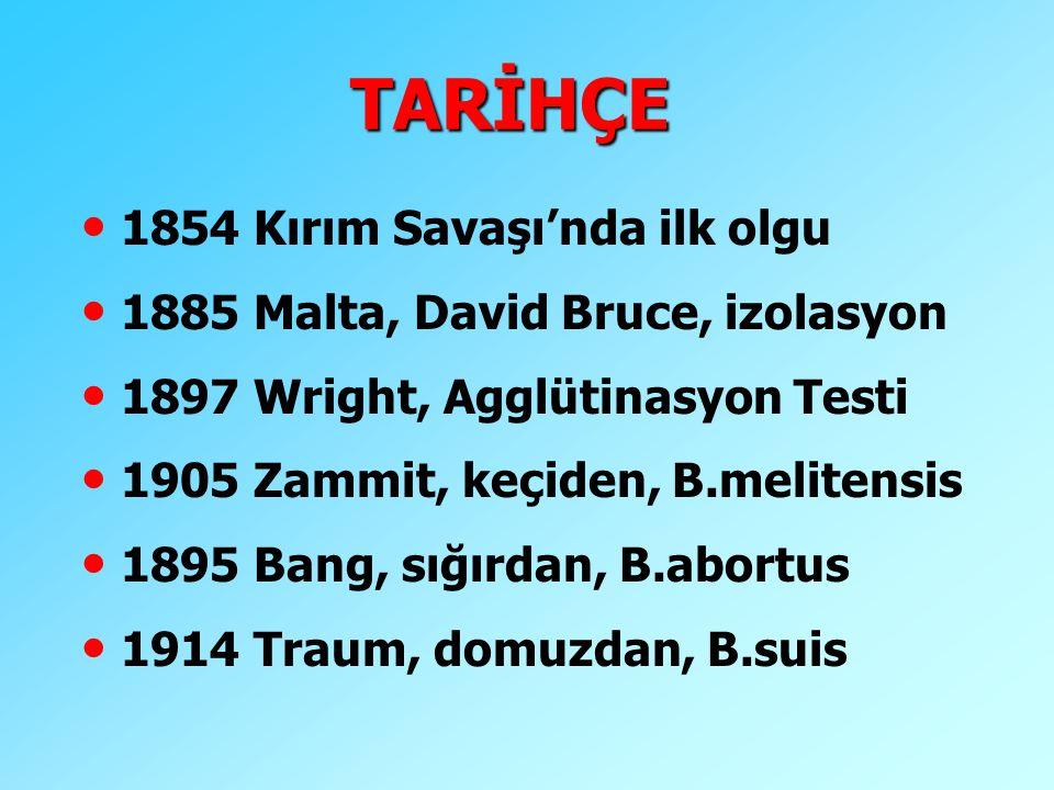 TARİHÇE 1854 Kırım Savaşı'nda ilk olgu 1885 Malta, David Bruce, izolasyon 1897 Wright, Agglütinasyon Testi 1905 Zammit, keçiden, B.melitensis 1895 Ban