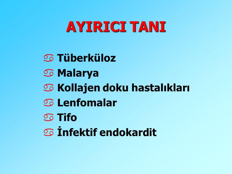 AYIRICI TANI a Tüberküloz a Malarya a Kollajen doku hastalıkları a Lenfomalar a Tifo a İnfektif endokardit