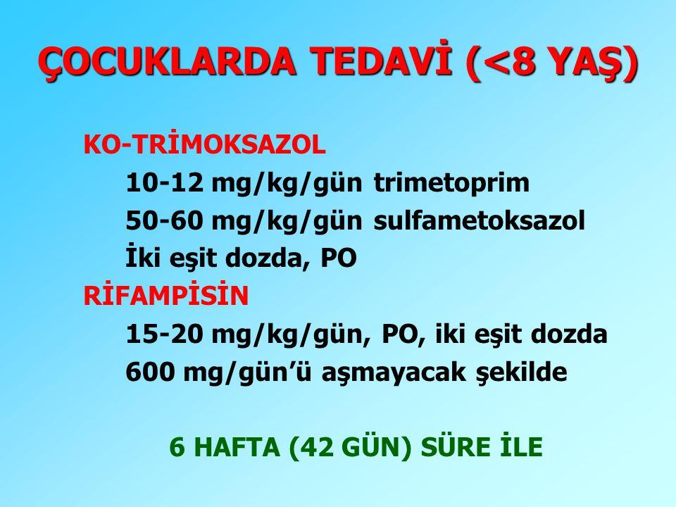 ÇOCUKLARDA TEDAVİ (<8 YAŞ) KO-TRİMOKSAZOL 10-12 mg/kg/gün trimetoprim 50-60 mg/kg/gün sulfametoksazol İki eşit dozda, PO RİFAMPİSİN 15-20 mg/kg/gün, P
