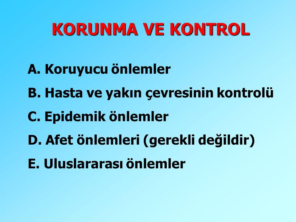KORUNMA VE KONTROL A. Koruyucu önlemler B. Hasta ve yakın çevresinin kontrolü C. Epidemik önlemler D. Afet önlemleri (gerekli değildir) E. Uluslararas
