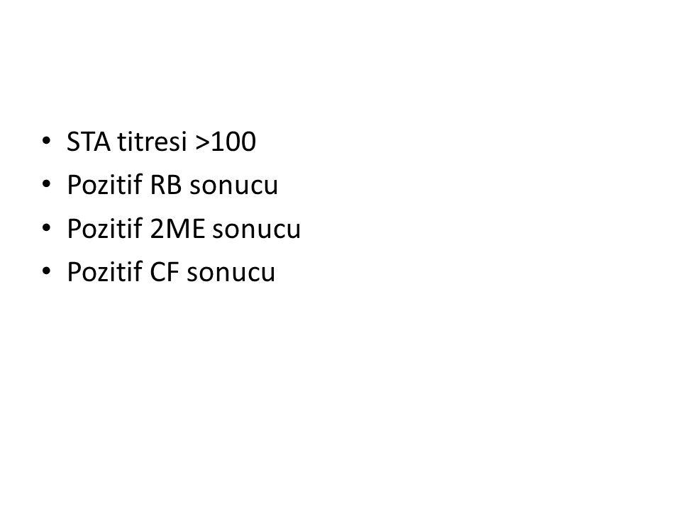 STA titresi >100 Pozitif RB sonucu Pozitif 2ME sonucu Pozitif CF sonucu