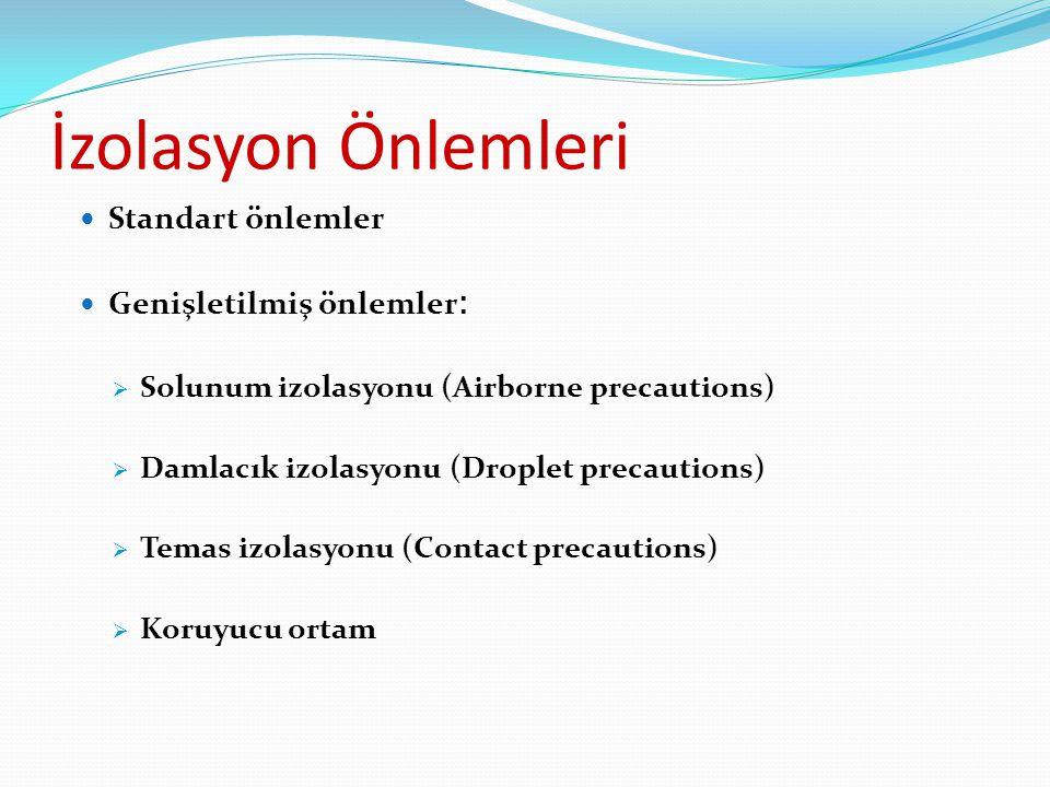 İzolasyon Önlemleri Standart önlemler Genişletilmiş önlemler :  Solunum izolasyonu (Airborne precautions)  Damlacık izolasyonu (Droplet precautions)