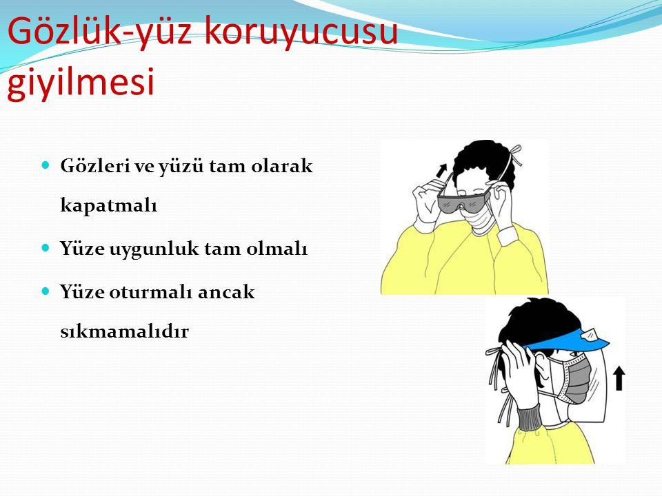 Gözlük-yüz koruyucusu giyilmesi Gözleri ve yüzü tam olarak kapatmalı Yüze uygunluk tam olmalı Yüze oturmalı ancak sıkmamalıdır