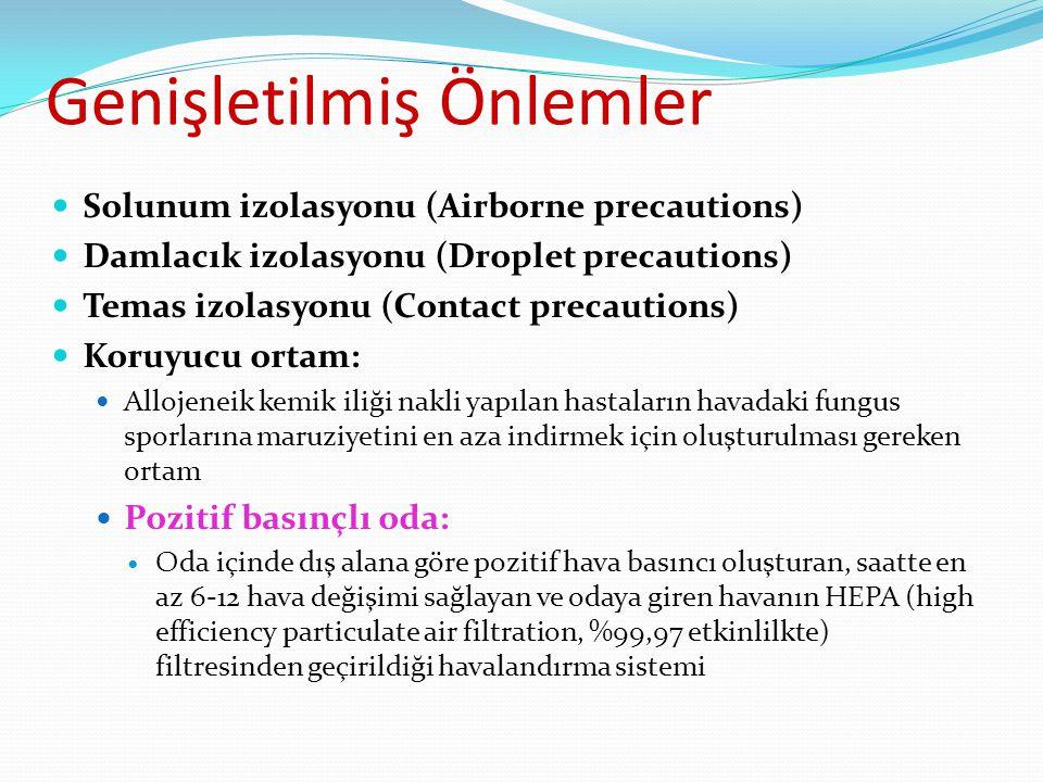 Genişletilmiş Önlemler Solunum izolasyonu (Airborne precautions) Damlacık izolasyonu (Droplet precautions) Temas izolasyonu (Contact precautions) Koru