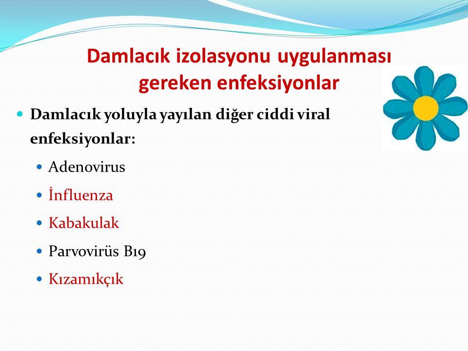 Damlacık izolasyonu uygulanması gereken enfeksiyonlar Damlacık yoluyla yayılan diğer ciddi viral enfeksiyonlar: Adenovirus İnfluenza Kabakulak Parvovi