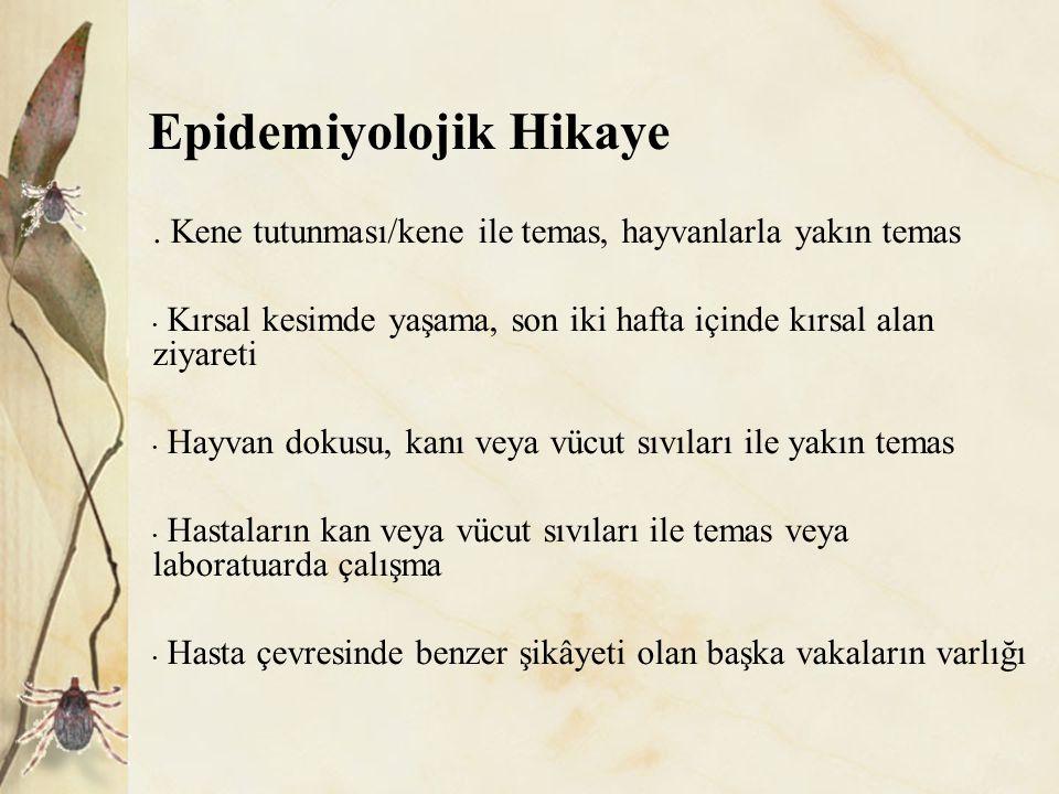 Destekleyici Bulgular Kanama belirtileri Hemorajik ya da purpurik döküntü, Epistaksis, Hemoptizi, Melena, Diğer hemorajik semptomlar