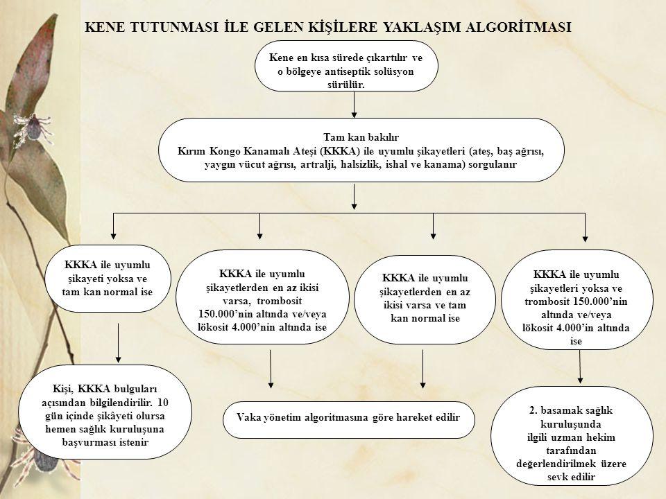 KKKA 2014 Kene Tutunması İle Gelen Hastalara Yaklaşım Algoritması Vaka Yönetim Algoritması güncel algoritmaların kullanılması sağlanacaktır.