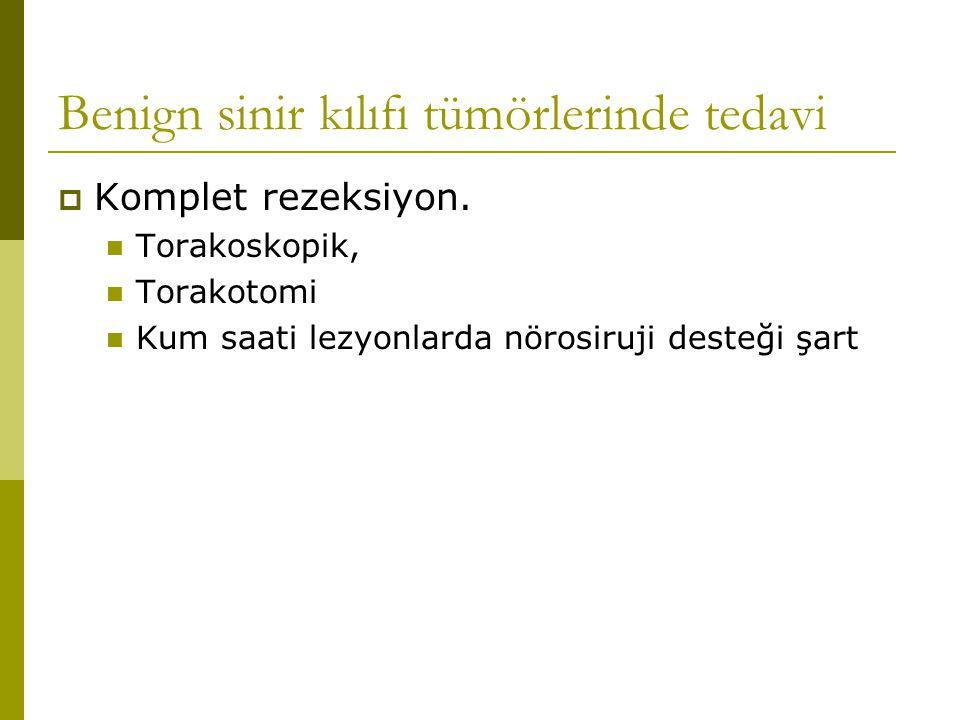 Benign sinir kılıfı tümörlerinde tedavi  Komplet rezeksiyon. Torakoskopik, Torakotomi Kum saati lezyonlarda nörosiruji desteği şart