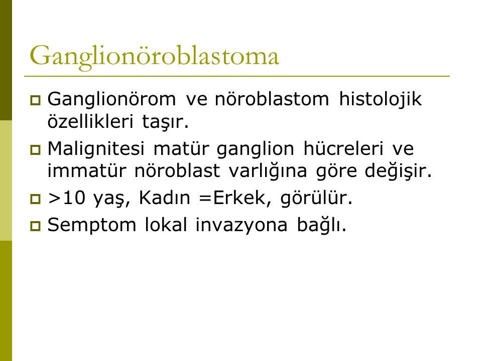 Ganglionöroblastoma  Ganglionörom ve nöroblastom histolojik özellikleri taşır.  Malignitesi matür ganglion hücreleri ve immatür nöroblast varlığına