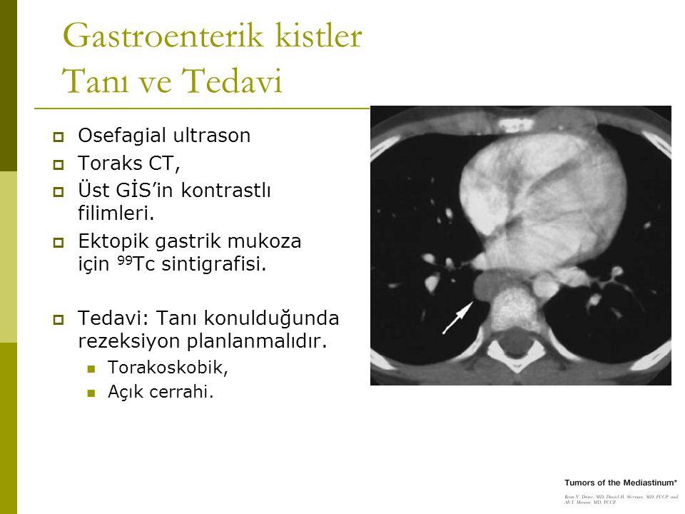 Gastroenterik kistler Tanı ve Tedavi  Osefagial ultrason  Toraks CT,  Üst GİS'in kontrastlı filimleri.  Ektopik gastrik mukoza için 99 Tc sintigra