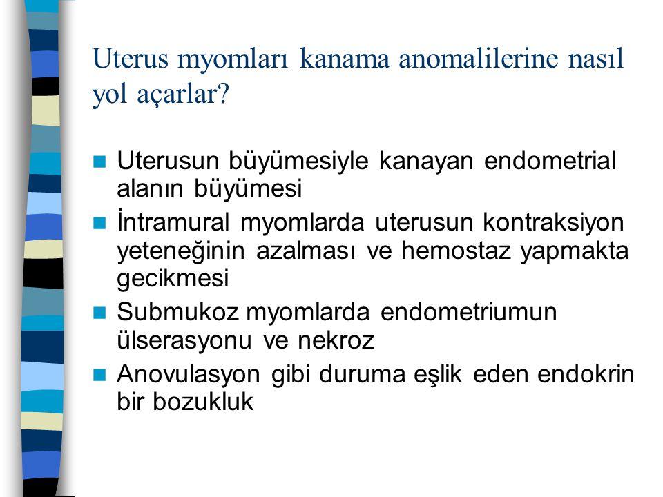 Uterus myomları kanama anomalilerine nasıl yol açarlar? Uterusun büyümesiyle kanayan endometrial alanın büyümesi İntramural myomlarda uterusun kontrak