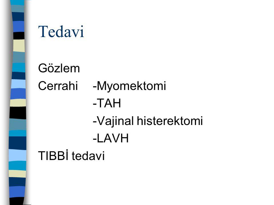 Tedavi Gözlem Cerrahi-Myomektomi -TAH -Vajinal histerektomi -LAVH TIBBİ tedavi