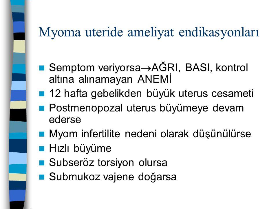 Myoma uteride ameliyat endikasyonları Semptom veriyorsa  AĞRI, BASI, kontrol altına alınamayan ANEMİ 12 hafta gebelikden büyük uterus cesameti Postme