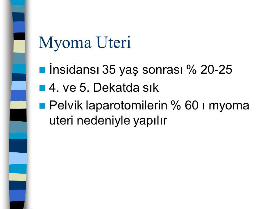 Myoma Uteri İnsidansı 35 yaş sonrası % 20-25 4. ve 5. Dekatda sık Pelvik laparotomilerin % 60 ı myoma uteri nedeniyle yapılır
