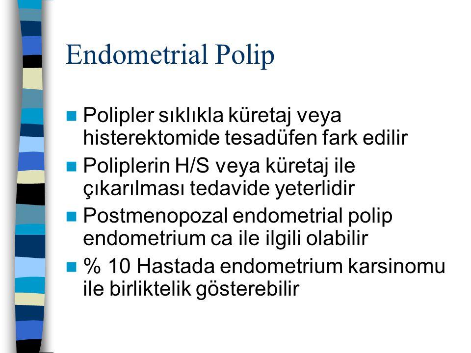 Endometrial Polip Polipler sıklıkla küretaj veya histerektomide tesadüfen fark edilir Poliplerin H/S veya küretaj ile çıkarılması tedavide yeterlidir