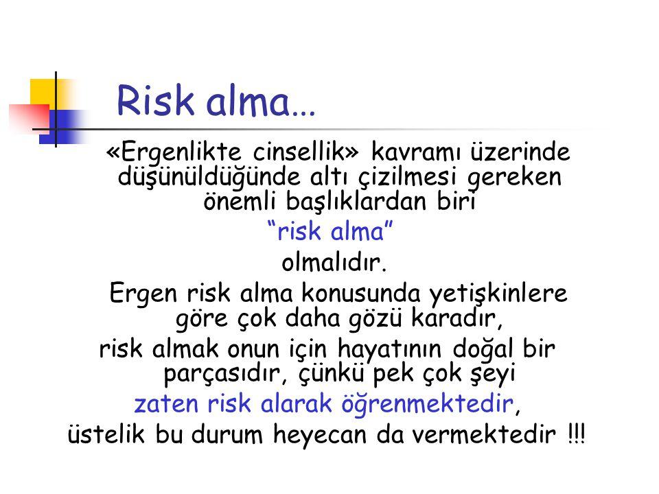 """Risk alma… «Ergenlikte cinsellik» kavramı üzerinde düşünüldüğünde altı çizilmesi gereken önemli başlıklardan biri """"risk alma"""" olmalıdır. Ergen risk al"""