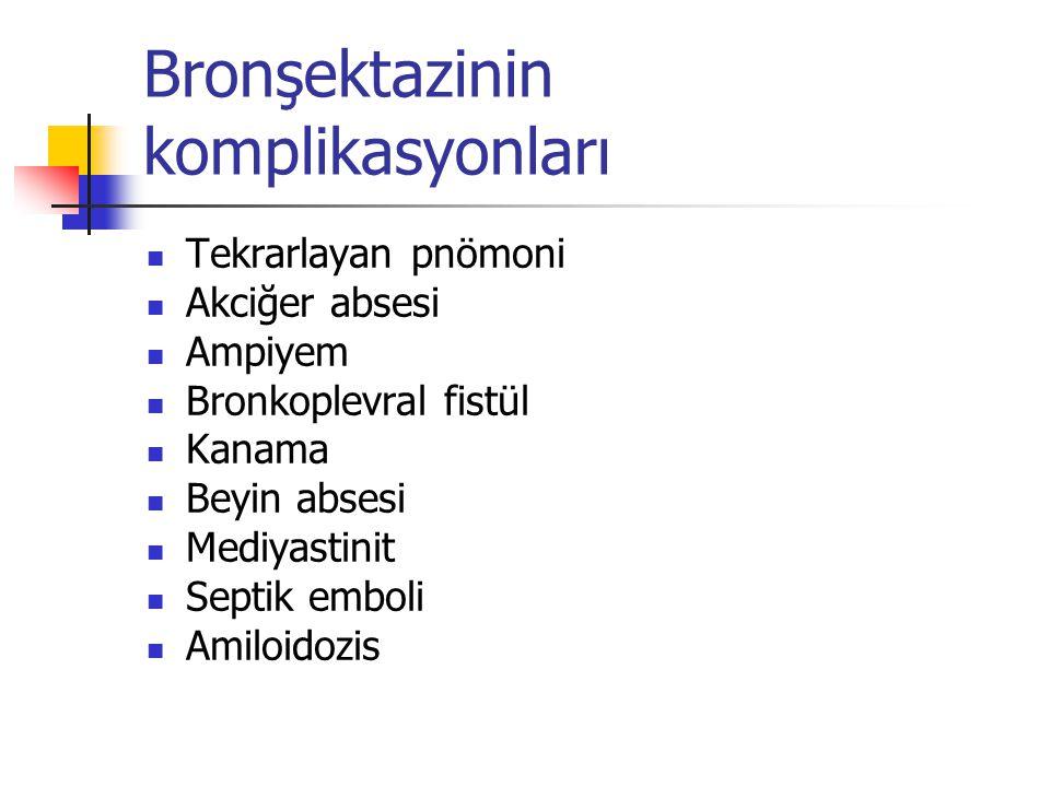 Bronşektazinin komplikasyonları Tekrarlayan pnömoni Akciğer absesi Ampiyem Bronkoplevral fistül Kanama Beyin absesi Mediyastinit Septik emboli Amiloid