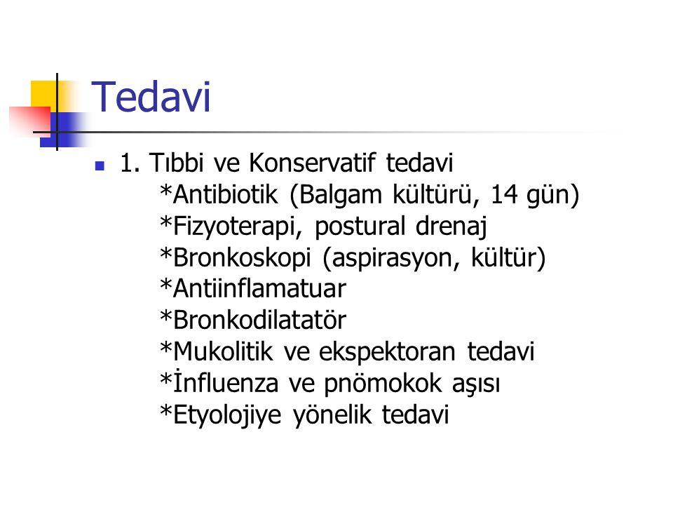 Tedavi 1. Tıbbi ve Konservatif tedavi *Antibiotik (Balgam kültürü, 14 gün) *Fizyoterapi, postural drenaj *Bronkoskopi (aspirasyon, kültür) *Antiinflam