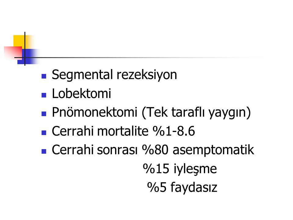Segmental rezeksiyon Lobektomi Pnömonektomi (Tek taraflı yaygın) Cerrahi mortalite %1-8.6 Cerrahi sonrası %80 asemptomatik %15 iyleşme %5 faydasız