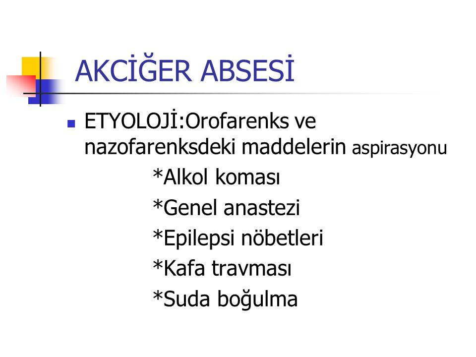 AKCİĞER ABSESİ ETYOLOJİ:Orofarenks ve nazofarenksdeki maddelerin aspirasyonu *Alkol koması *Genel anastezi *Epilepsi nöbetleri *Kafa travması *Suda bo