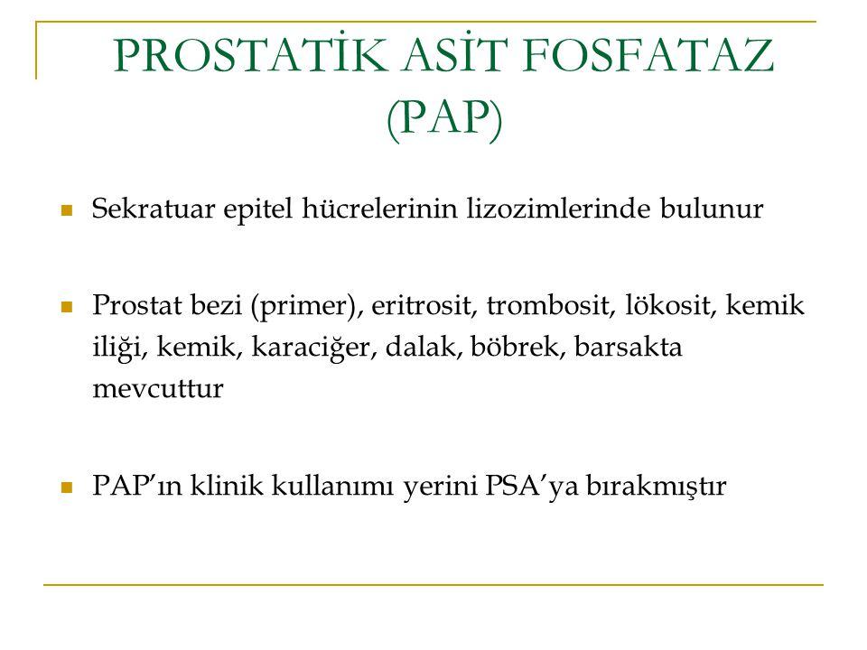 PROSTATİK ASİT FOSFATAZ (PAP) Sekratuar epitel hücrelerinin lizozimlerinde bulunur Prostat bezi (primer), eritrosit, trombosit, lökosit, kemik iliği,
