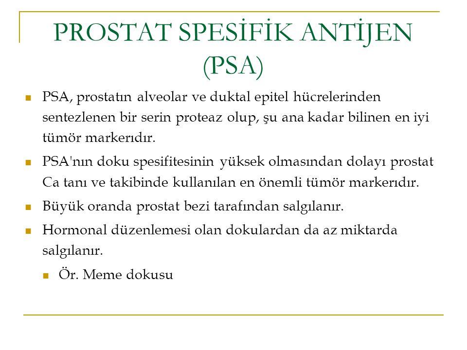 PROSTAT SPESİFİK ANTİJEN (PSA) PSA, prostatın alveolar ve duktal epitel hücrelerinden sentezlenen bir serin proteaz olup, şu ana kadar bilinen en iyi