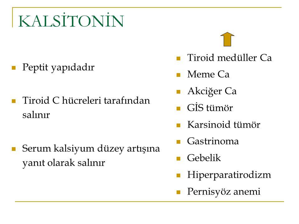 KALSİTONİN Tiroid medüller Ca Meme Ca Akciğer Ca GİS tümör Karsinoid tümör Gastrinoma Gebelik Hiperparatirodizm Pernisyöz anemi Peptit yapıdadır Tiroi