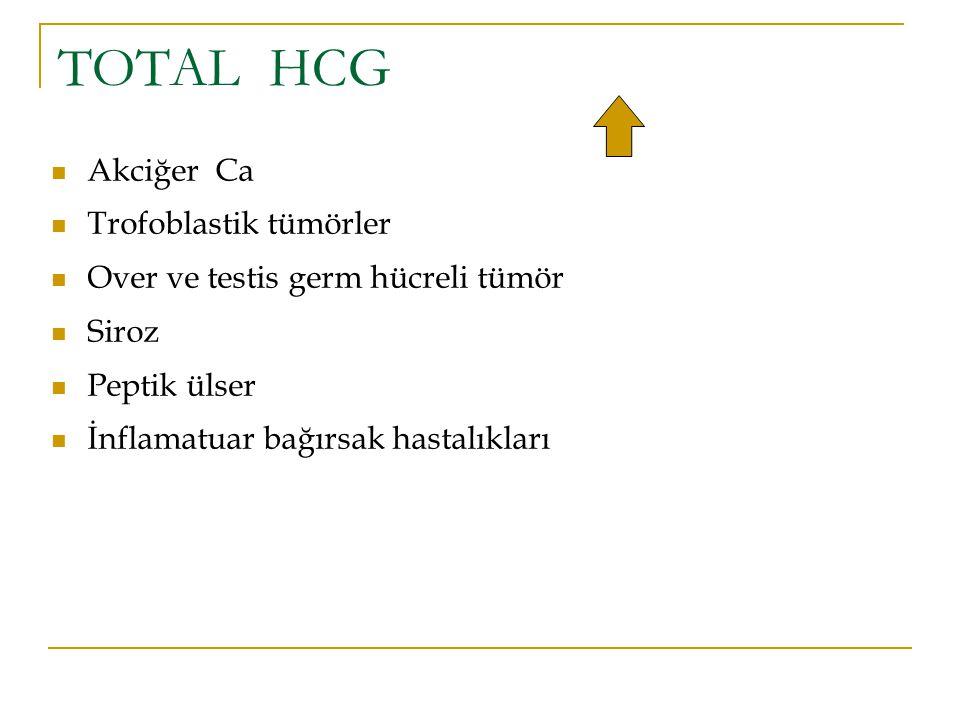 TOTAL HCG Akciğer Ca Trofoblastik tümörler Over ve testis germ hücreli tümör Siroz Peptik ülser İnflamatuar bağırsak hastalıkları