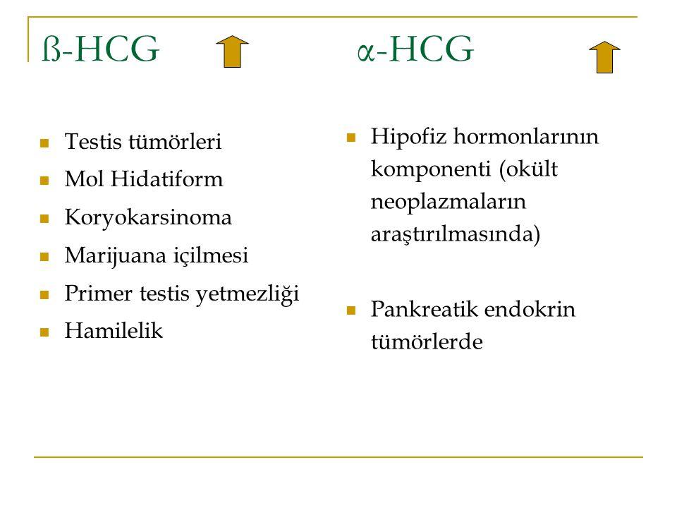 ß-HCG α-HCG Testis tümörleri Mol Hidatiform Koryokarsinoma Marijuana içilmesi Primer testis yetmezliği Hamilelik Hipofiz hormonlarının komponenti (okü