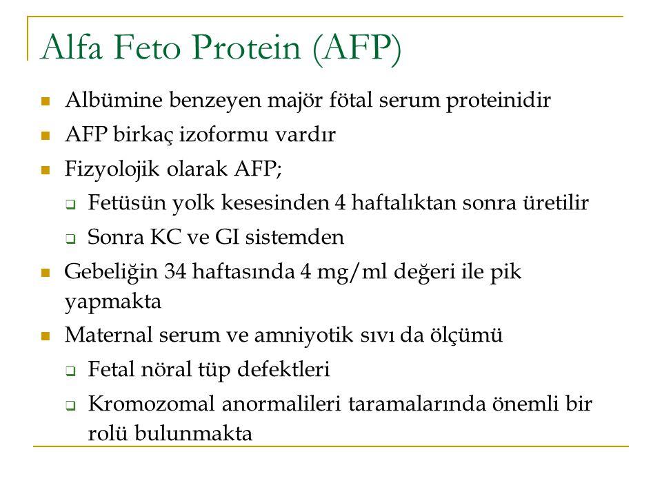 Alfa Feto Protein (AFP) Albümine benzeyen majör fötal serum proteinidir AFP birkaç izoformu vardır Fizyolojik olarak AFP;  Fetüsün yolk kesesinden 4