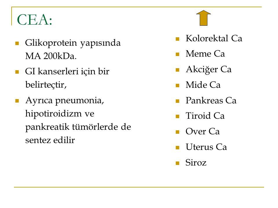 CEA: Glikoprotein yapısında MA 200kDa. GI kanserleri için bir belirteçtir, Ayrıca pneumonia, hipotiroidizm ve pankreatik tümörlerde de sentez edilir K